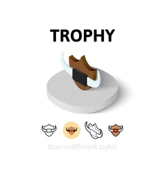 Trophy icon in different style vector image