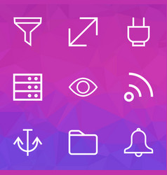 User icons line style set with strainer armature vector