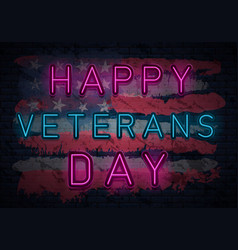 Veterans day neon vector