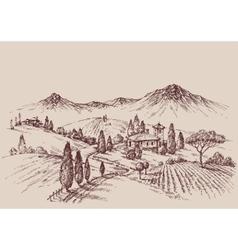 Vineyard sketch Wine label design Rural landscape vector