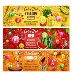 Vitamin in fruits and veggies color diet days vector