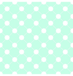 White Polka dot Chess Board Grid Green Mint vector image
