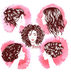 Woman beautiful silhouettes with hair style vector