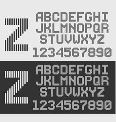 Zebra font with vertical stripes line alphabet vector