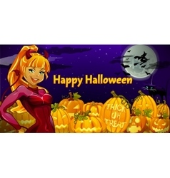 Girl is the main character in Halloween night vector image vector image