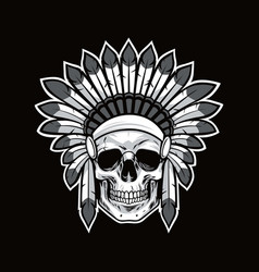 skull of native american indian warrior black vector image