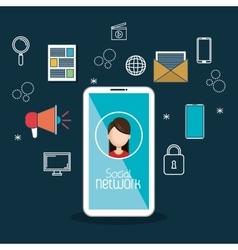 social media technology mobile blue background vector image
