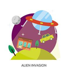 Space alien invasion image vector