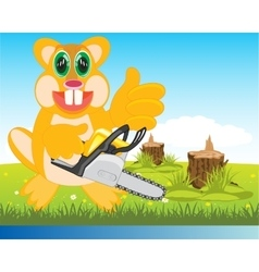 Beaver with chainsaw on glade vector image vector image
