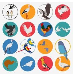 Birds icon set flat style vector image
