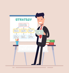 businessman or manager uses a tablet standing near vector image vector image