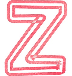 Capital letter z drawing with red marker vector