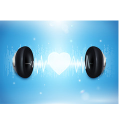 love music concept headphones with sound wave vector image