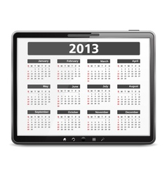 Tablet computer with 2013 calendar vector image vector image
