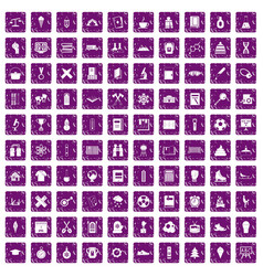 100 school years icons set grunge purple vector image