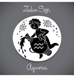 Aquarius zodiac sign of horoscope circle emblem in vector image vector image