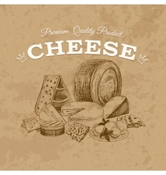 Cheese hand drawn vector image vector image