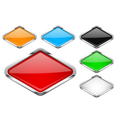 glass buttons with chrome frame colored set of vector image