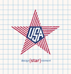 hand draw star with american flag colors Abstract vector image