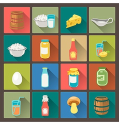 icons farm food in flat design style vector image vector image