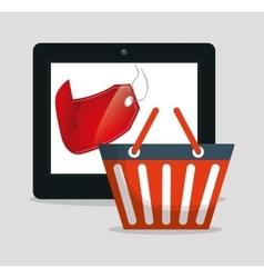 shopping online basket big sale vector image
