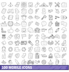 100 mobile icons set outline style vector image