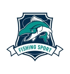 Fishing sport club badge with tuna fish icon vector image