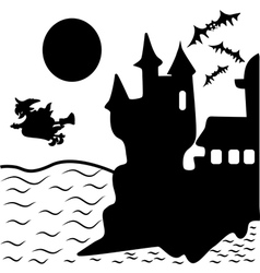 Halloween haunted castle bats witch vector image