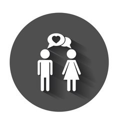 Man and woman icon with heart modern flat vector