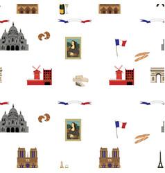 Paris seamless pattern hand-drawn landmarks vector