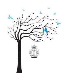 tree with bird and cage vector image
