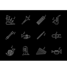 Woodwind music white line icons set vector image