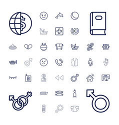 37 blue icons vector