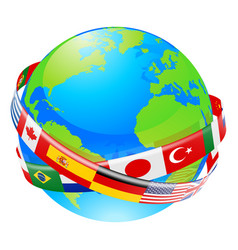 A earth globe with flags of countries vector