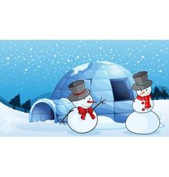 An igloo and snowmen vector