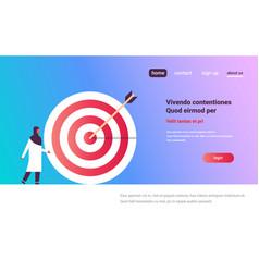 arab woman standing target arrow goal success vector image