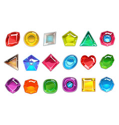 big collection of colorful valuable stones in vector image