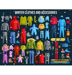 Big collection of cozy winter clothes and winter vector