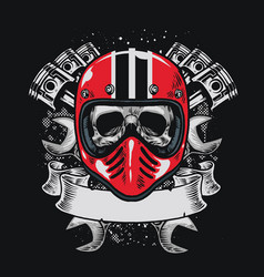 Biker skull with blank ribbon for text vector