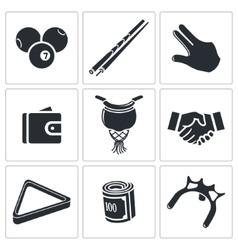 Billiard icons set vector image