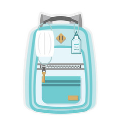 Blue kids new normal back to school backpack icon vector