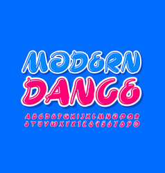 Bright poster modern dance with pink font vector