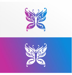 butterfly yoga logo icon design modern template vector image