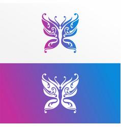 butterfly yoga logo icon design modern template vector image