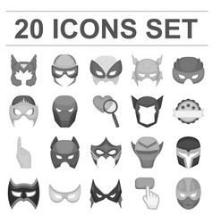 carnival mask monochrome icons in set collection vector image