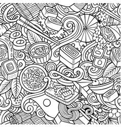 cartoon cute doodles hand drawn japan food vector image
