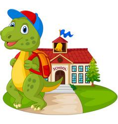cartoon funny dinosaur going to school vector image
