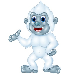 Cartoon Yeti presenting isolated vector image