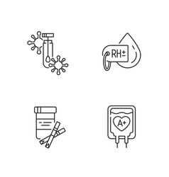 Clinical blood analysis linear icons set vector