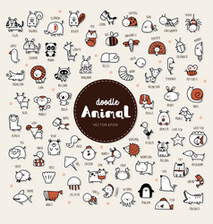 Collection hand draw animal icon doodle style vector